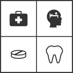 Vector Illustration Set Medical Icons. Elements of Medical bag, Pay bed, Pill and Tooth icon