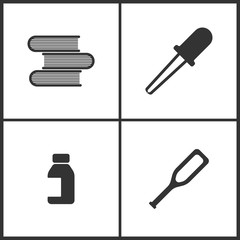 Vector Illustration Set Medical Icons. Elements of Books, Pipette, Bank of pills and Crutches icon
