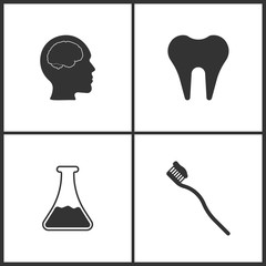 Vector Illustration Set Medical Icons. Elements of Brain , Tooth, Laboratory glass and Toothbrash icon