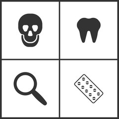 Vector Illustration Set Medical Icons. Elements of Skull, Tooth, Magnify  and Pills icon