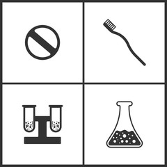 Vector Illustration Set Medical Icons. Elements of Pill, Toothbrash and Laboratory glass icon