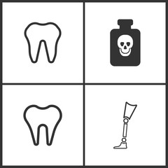 Vector Illustration Set Medical Icons. Elements of Poison , Tooth and Prosthesis icon