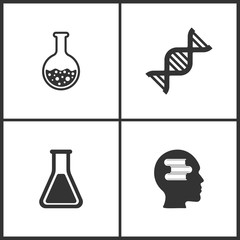 Vector Illustration Set Medical Icons. Elements of Laboratory glass, DNA molecule, Laboratory glass and Education  icon