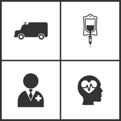 Vector Illustration Set Medical Icons. Elements of Ambulance , Drop counter, Doctor and Pulse icon