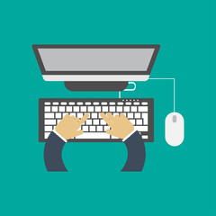 Vector illustration. Flat computing background with computer and hand. Blogging