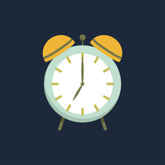 Alarm clock icon. Flat design style. Clock silhouette. Simple icon. Modern flat icon in stylish colors. Web site page and mobile app design element.