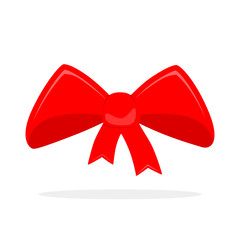 Red bow icon. Vector illustration.