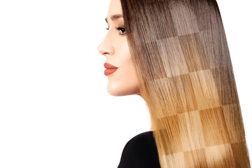Healthy dyed long hair. Chessboard hairstyle cloloring technique