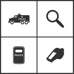 Vector Illustration Set Medical Icons. Elements of Police Car, Magnify, Riot Police and The whistle icon