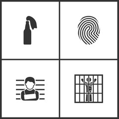 Vector Illustration Set Medical Icons. Elements of Fire Cocktail, Fingerprint and Prisoner icon