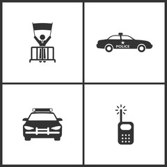 Vector Illustration Set Medical Icons. Elements of Protest, Police Car and Radio icon