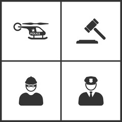 Vector Illustration Set Medical Icons. Elements of Helicopter, Hammer judge, Robber and Police icon