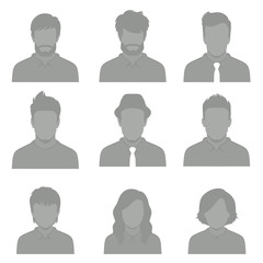 set of flat avatar, vector people icon, user faces design illustration, man and woman head