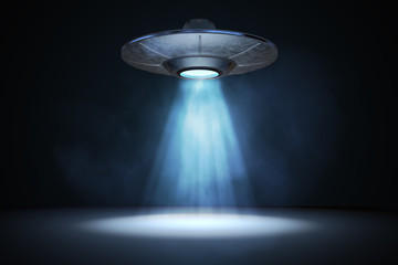 Light beam from flying UFO (alien spaceship). 3D rendered illustration.