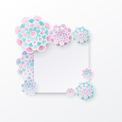 Elegant floral background with 3d paper flowers and  place for text.. Origami design. Paper cut spring flower holiday texture in pastel colors. Happy Mother's Day, 8 march. Vector illustration