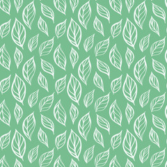 Hand drawn leaf seamless pattern. Tea leaves vector illustration. Repeatable background with botanical motif.