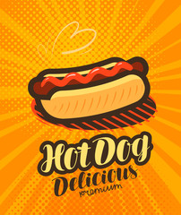 American Hot Dog, fast food poster. Pop art retro comic style. Cartoon vector illustration