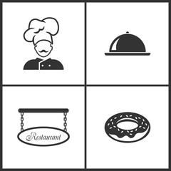 Vector Illustration Set Medical Icons. Elements of Chef, Tray, Blank restaurant sign and Donut icon