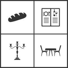 Vector Illustration Set Medical Icons. Elements of Bread, Menu, Candlestick lamp and Table with chairs icon