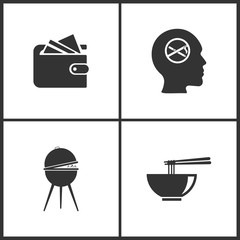 Vector Illustration Set Medical Icons. Elements of Wallet, No smoke, Barbecue grill and Noodle icon