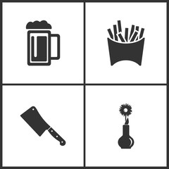 Vector Illustration Set Medical Icons. Elements of Beer, Fry, Meat chopper and Flower icon