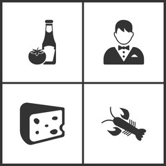 Vector Illustration Set Medical Icons. Elements of Ketchup, Waiter, Cheese and Crab icon
