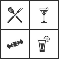 Vector Illustration Set Medical Icons. Elements of Kitchen tool, Martini, Candy and Tequila shot icon