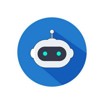 Circular AI robot head icon. Isolated on white