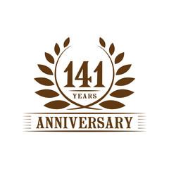 141 years anniversary logo template.