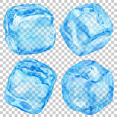 Set of realistic translucent ice cubes in light blue color on transparent background. Transparency only in vector format