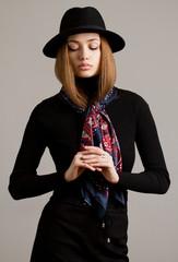 Winter fashion brunette.