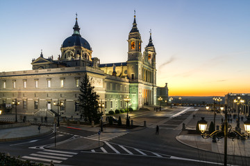 Amazing Sunset view of Almudena Cathedral in City of Madrid, Spain