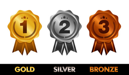First place. Second place. Third place. Award Medals Set isolated on white with ribbons and stars. Vector illustration