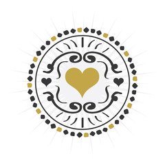 Black and golden hand drawn circle heart sign emblem icons on white background