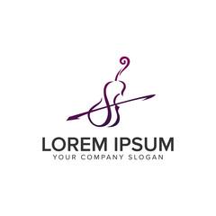 violin logo design concept template. fully editable vector