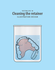 Cleaning the retainer in the glass with tablet illustration vector on blue background. Dental concept.