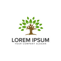 People tree logo design concept template. fully editable vector
