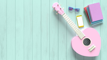 Ukulele sweet pink heart pastel color
