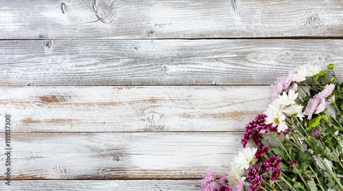 Mixed flowers in bottom right corner on white weathered wooden boards