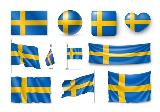 Set Sweden flags, banners, banners, symbols, flat icon. Vector illustration of collection of national symbols on various objects and state signs