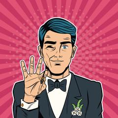 Groom pop art cartoon vector illustration graphic design Weedingd people