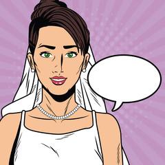 Beautiful bride pop art cartoon vector illustration graphic design vector illustration graphic design Weedingd people