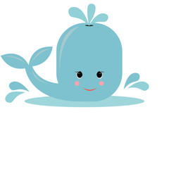 Cartoon cute whale. vector illustration