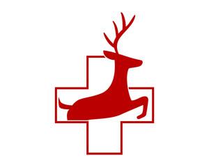 medical reindeer deer elk stag image vector icon logo silhouette 1