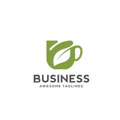 Herbal green tea cup logo, herbal drink logo,green leaf with mug logo, green leaf with tea cup logo concept.nature drink , health drink logo