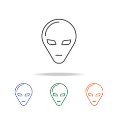 Alien Head Icon. Element of a space multi colored icon for mobile concept and web apps. Thin line icon for website design and development, app development. Premium icon