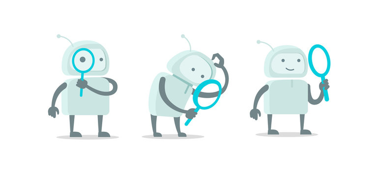 Robot alien character with magnifier loupe set. With magnifying glass search. Flat color vector illustration stock clipart