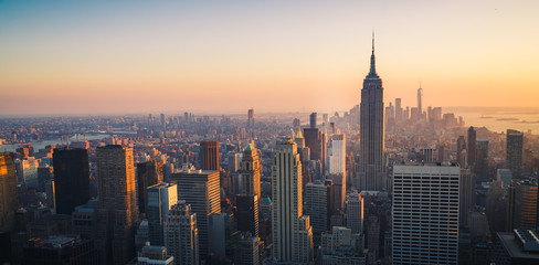 Fototapete - Manhattan Skyline at Sunset, New York City, United States of America