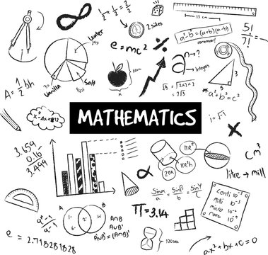Math theory and mathematical formula equation and model or graph doodle handwriting icon in white isolated backgroundl used for school education, create by vector