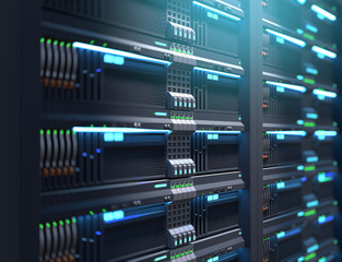 super computer server racks in datacenter. 3d illustration